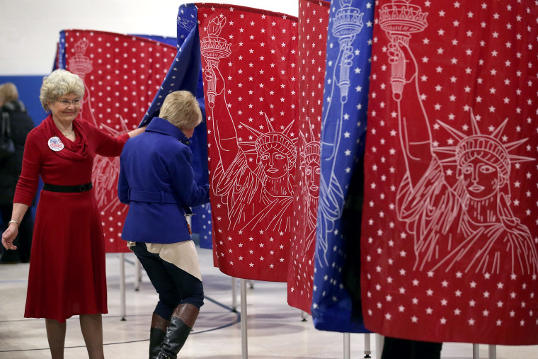 """Image: New Hampshire Voters Head To The Polls For State's \""""First In The Nation\"""" Primary"""