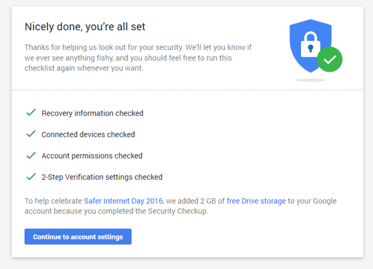 Google Offers 2GB of Free Drive Space If You Complete 'Security Checkup'