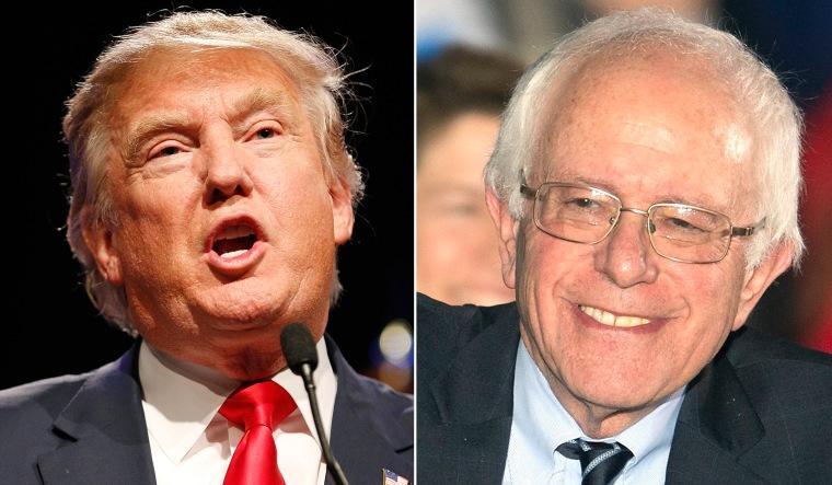 Image: Presidential hopefuls Donald Trump and Bernie Sanders