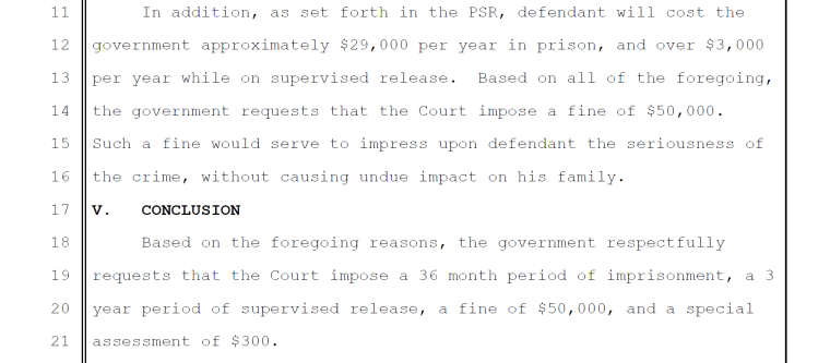 Court documents acquired by NBC News detailing the prosecution's sentencing requests in the case of Ken Liang, who was convicted of offering to help a Federal witness leave the country.