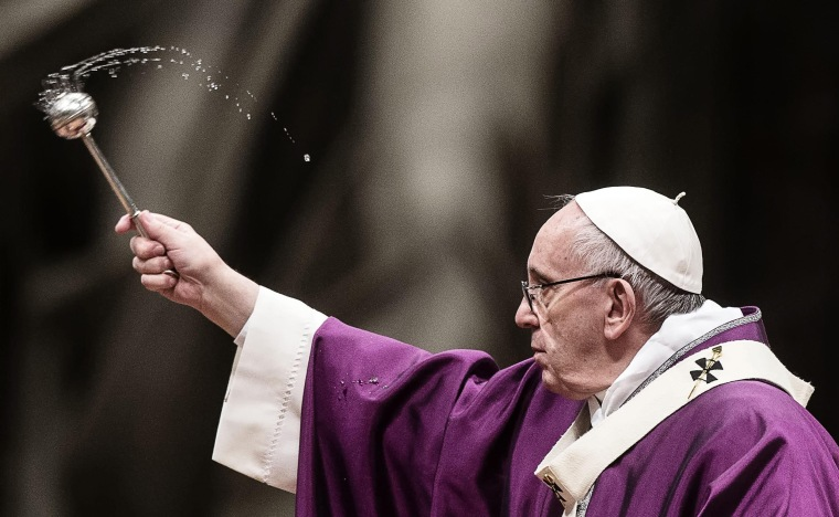 Image: Pope Francis leads the Ash Wednesday mass