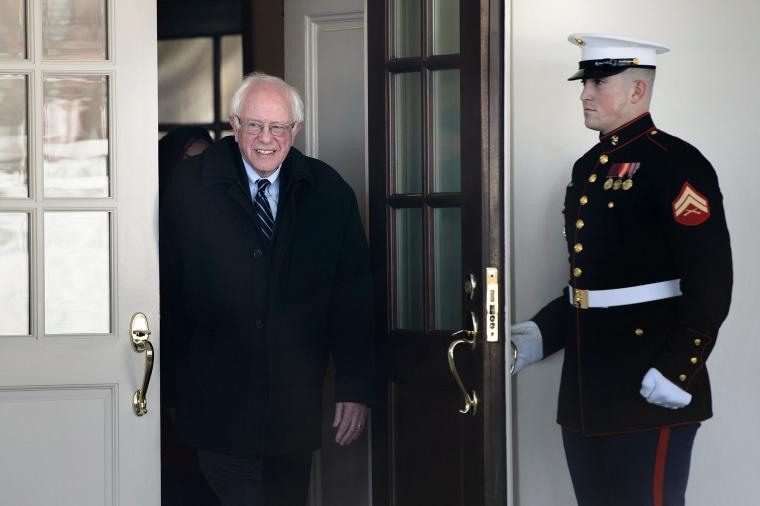 Image: Bernie Sanders leaves the White House