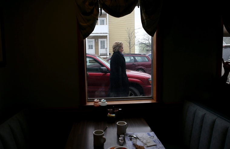 Image: Hillary Clinton prepares to enter Chez Vachon for breakfast in Manchester