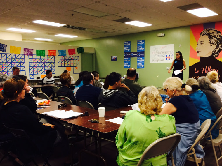 Volunteers working in Hillary Clinton's campaign