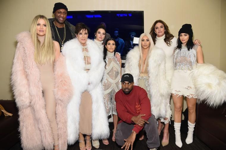 NEW YORK, NY - FEBRUARY 11: (L-R) Khloe Kardashian, Lamar Odom, Kris Jenner, Kendall Jenner, Kourtney Kardashian, Kanye West, Kim Kardashian, Caitlin Jenner and Kylie Jenner attend Kanye West Yeezy Season 3 on February 11, 2016 in New York City.