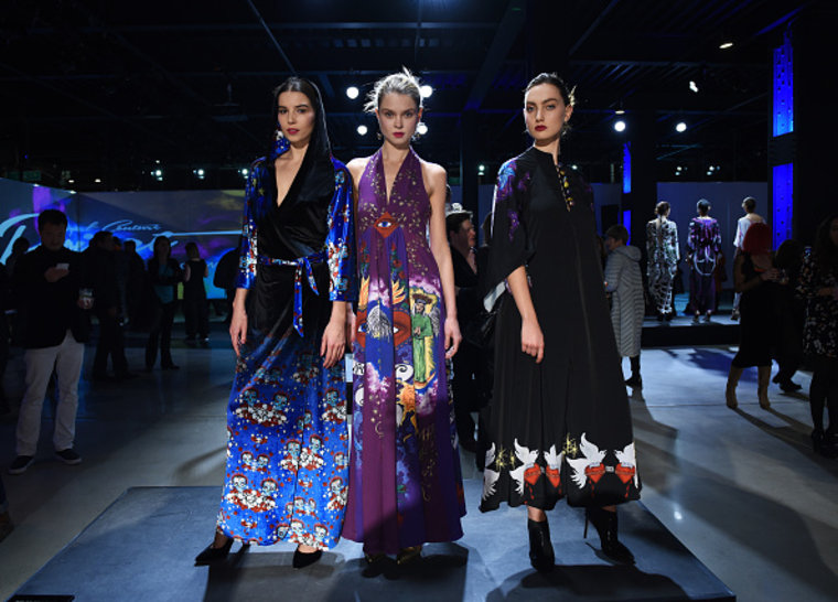 Models wearing Chloe Trujillo at the Epson Digital Couture Fashion presentation.