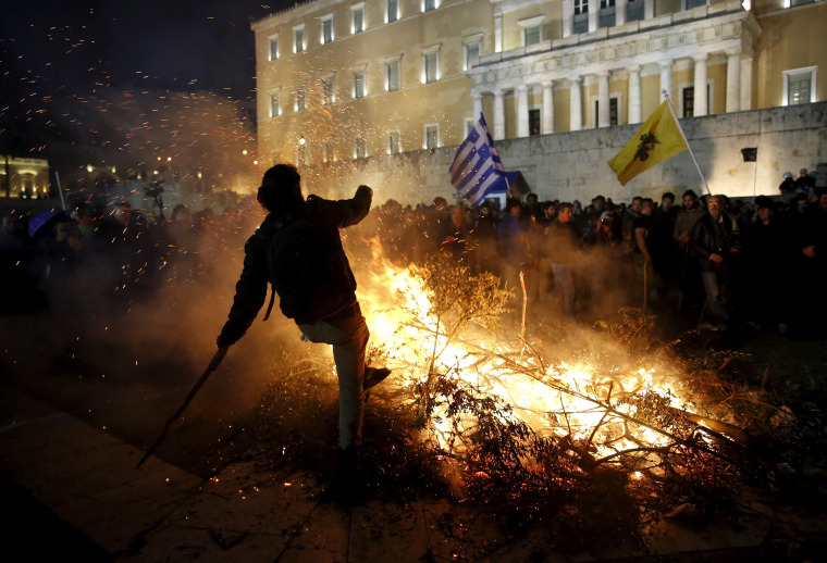 Image: A protester in Athens