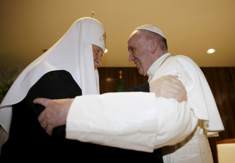 Image: Russian Orthodox Patriarch Kirill and Pope Francis embrace in Havana