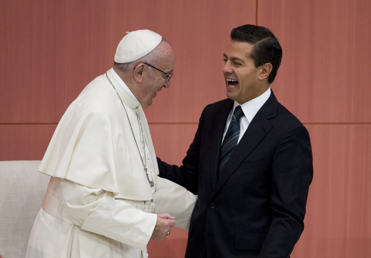 Image: Pope Francis laughs along with Mexican President Enrique Pena Nieto
