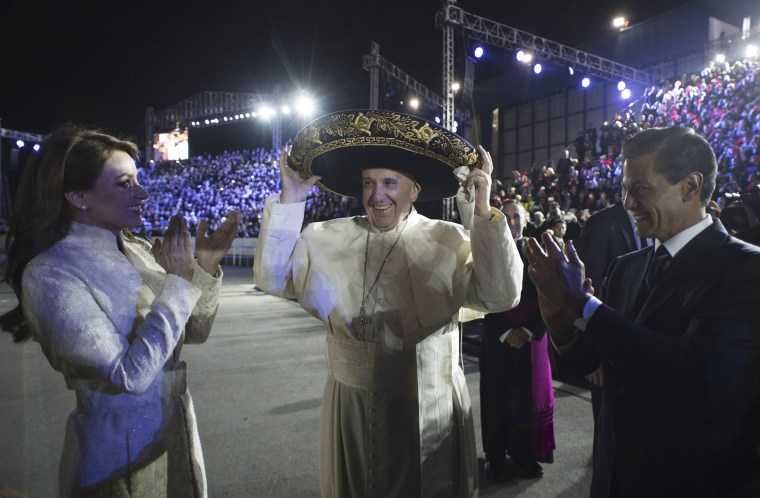 Image: Pope Francis wears a sombrero
