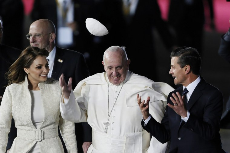 Image: Pope Francis speaks with Mexican President Enrique Pena Nieto