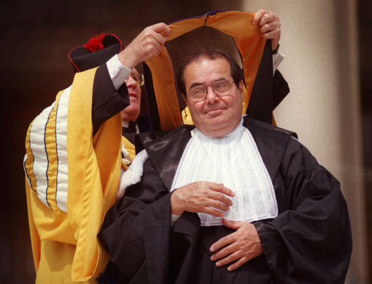 Image: Scalia is presented with an honorary degree at Catholic University