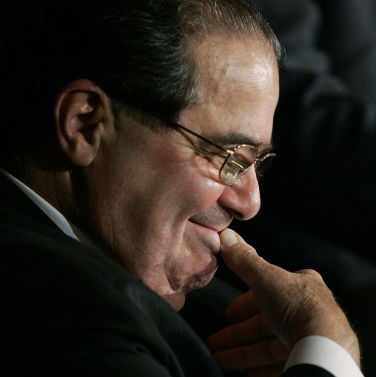 Image: Scalia smiles at the humorous comments