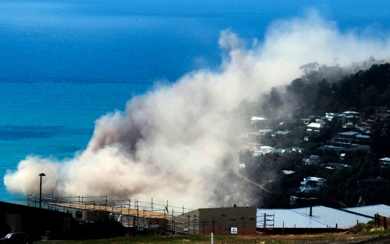 Image: Dust and debris rise above houses after a cliff collapsed due to an earthquake on the Whitewash Head area, located above Scarborough Beach in the suburb of Sumner, Christchurch, New Zealand