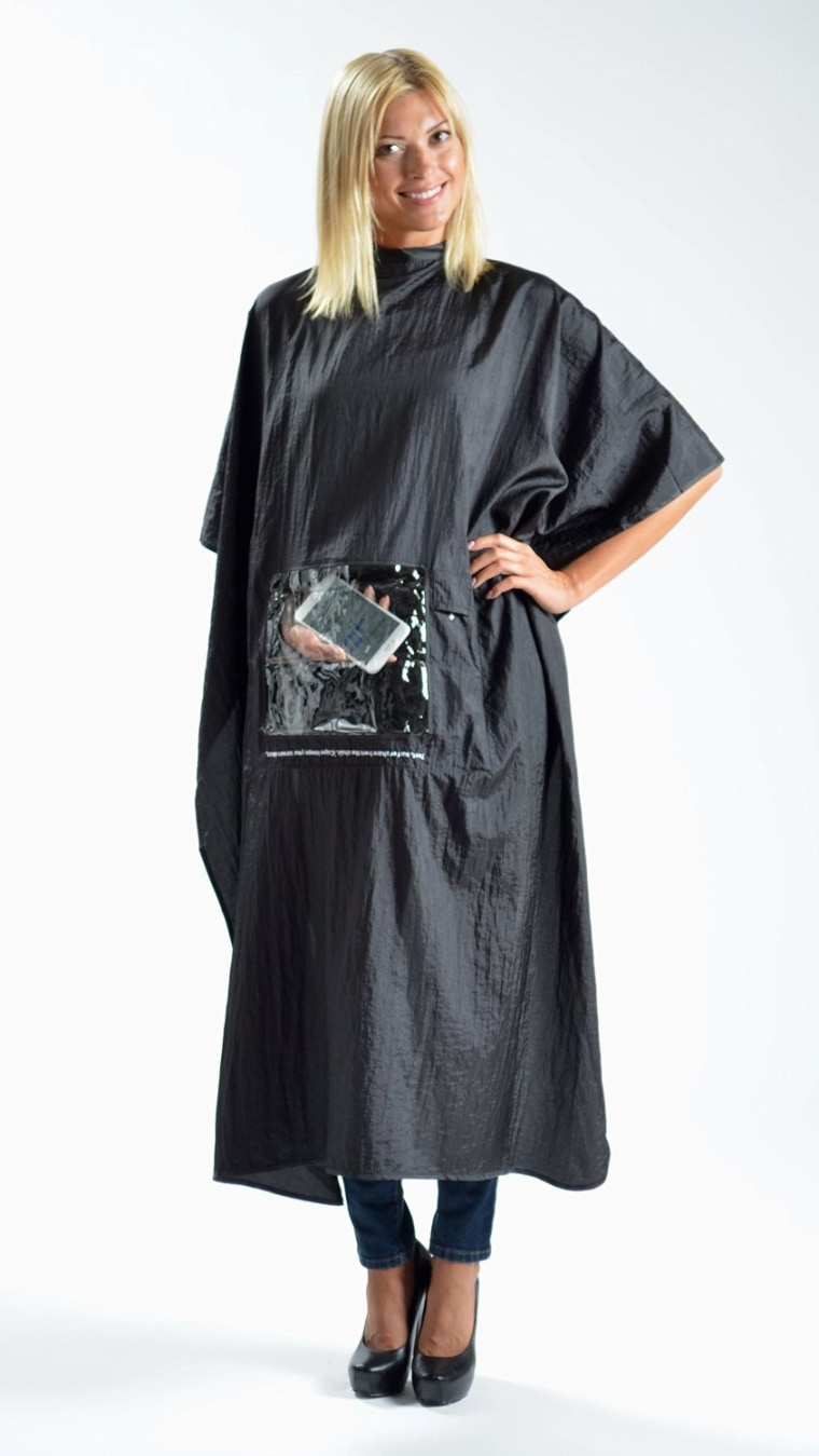 Hair salon cape that allows you to use your phone