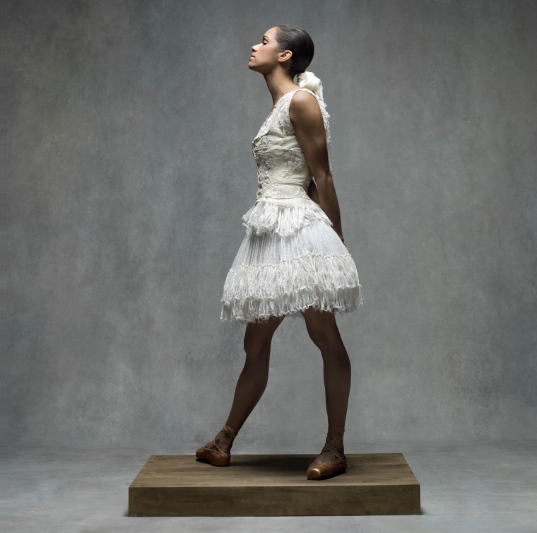 Misty Copeland poses for a portrait in the style of a Degas painting.