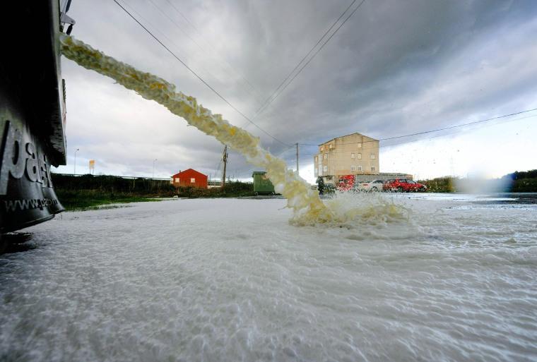 Image: Protesting farmers empty milk