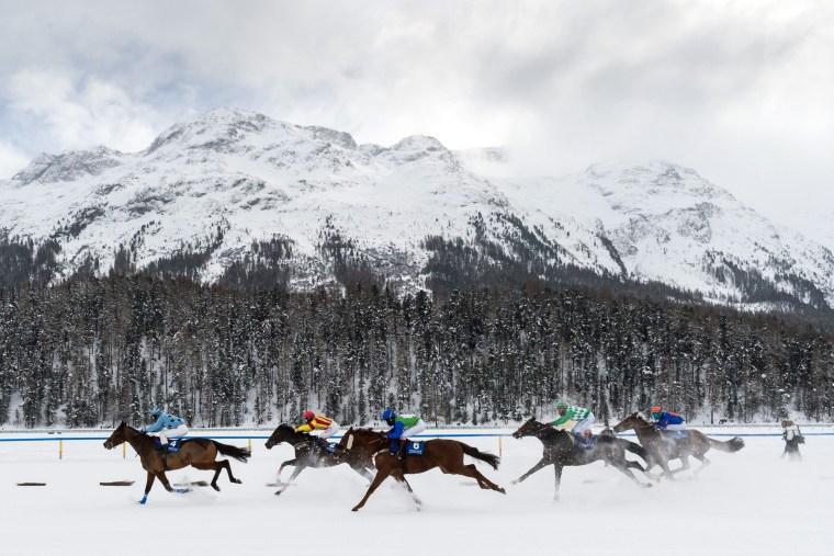 Image: White Turf races in St. Moritz, Switzerland