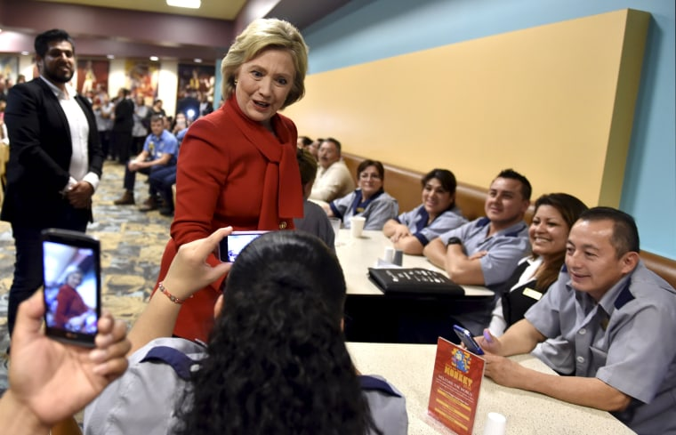 Image: Democratic presidential candidate Hillary Clinton meets workers at Caesars Palace in Las Vegas