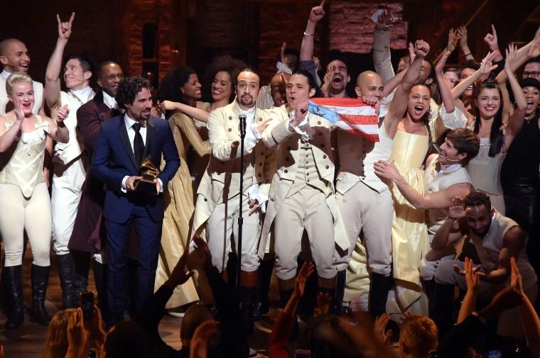"Image: The 58th GRAMMY Awards - \""Hamilton\"" GRAMMY Performance"