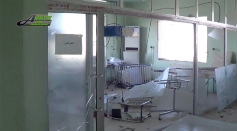 Image: Still image taken from video shows the view of the damaged interior of what is said to be a hospital after a missile attack in Azaz