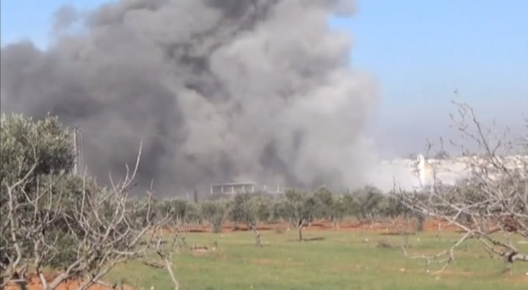 Image: Still image taken from video shows heavy smoke rising from a location said to be a Medecins Sans Frontieres (MSF) supported hospital in Marat al Numan, Idlib, Syria