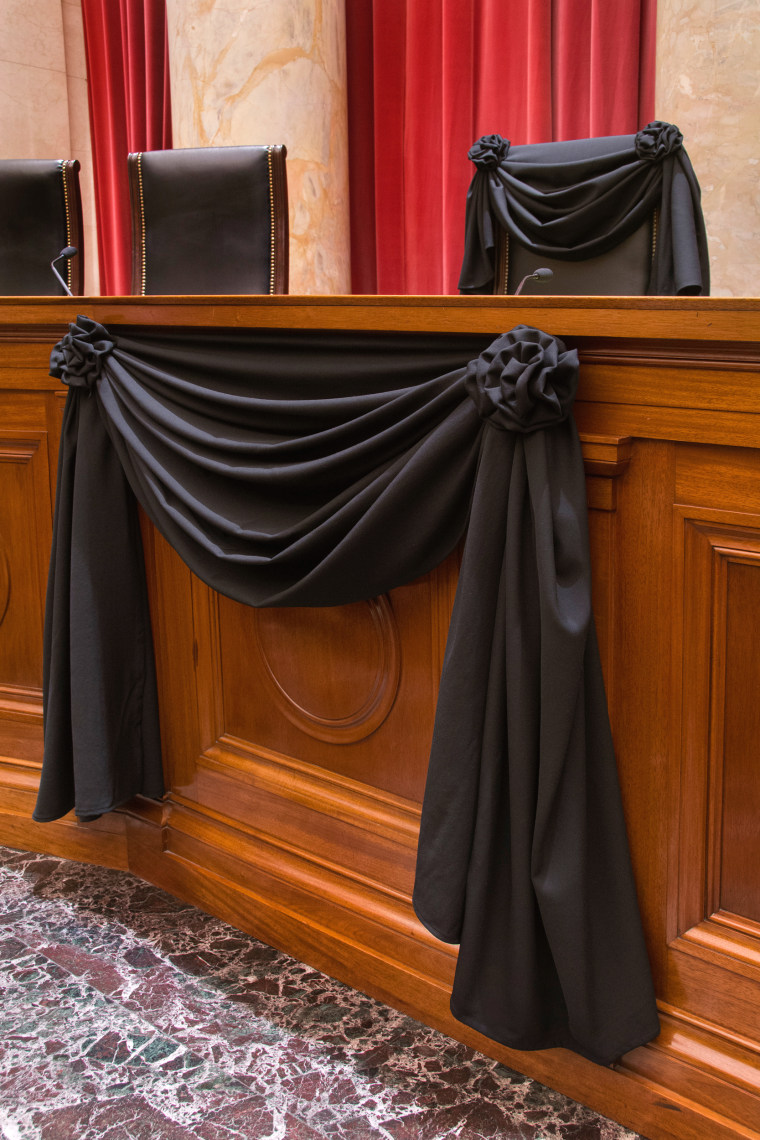 Image: Supreme Court Associate Justice Antonin Scalia's Bench Chair and the Bench in front of his seat draped in black following his death on Feb.13, 2016.