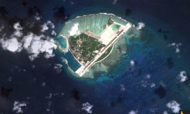 Image: Woody Island, as seen in a Google Maps satellite image.