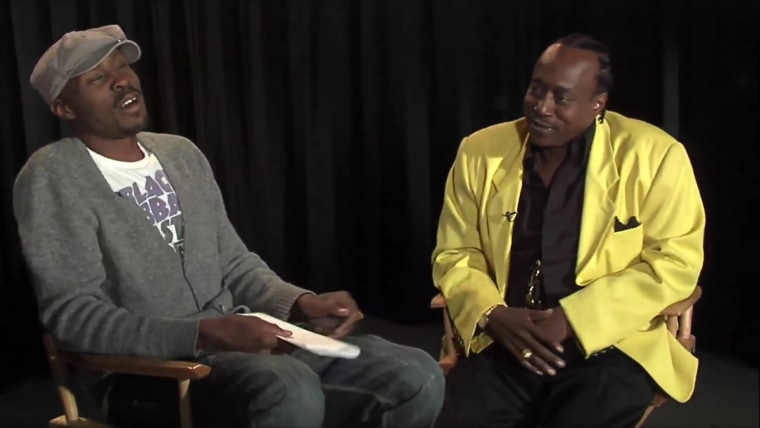 Image: Wire actor Wood Harris interviews Nathan Barksdale