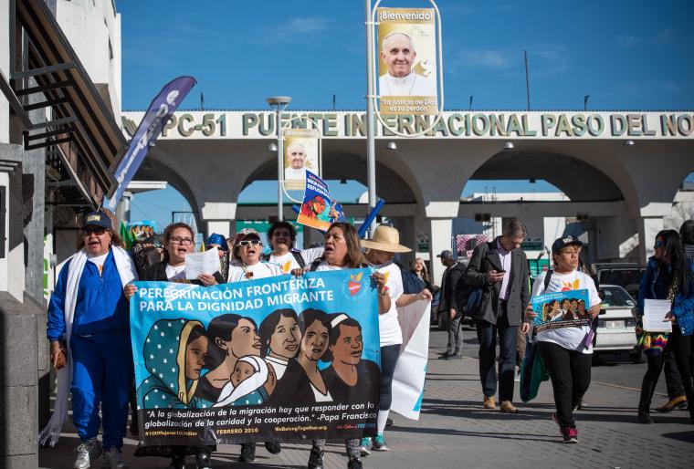 As part of the pilgrimage, the women crossed the border to Juarez through the Paso del Norte International Bridge.