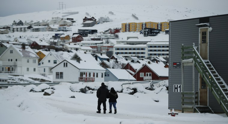 Image: Asylum seekers leave the refugee camp in Hammerfest, Norway