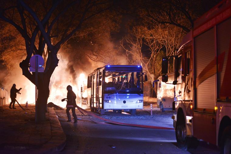 Image: Firefighters at Ankara Turkey Explosion