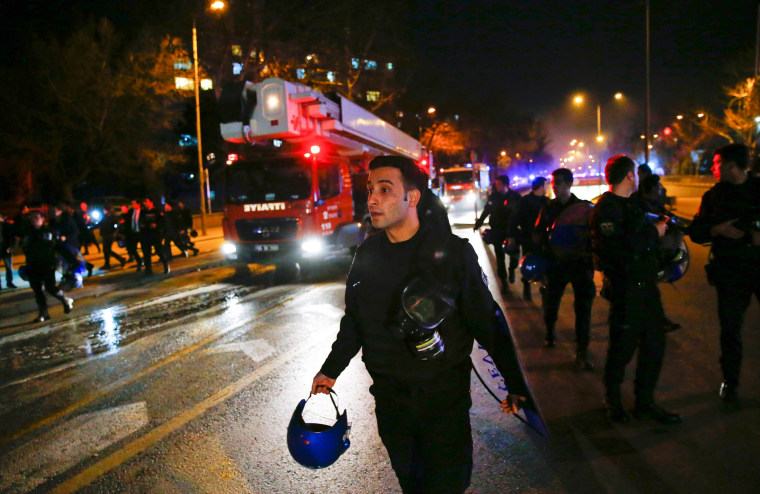 Image: Cars of emergency services arrive at Ankara Turkey Explosion