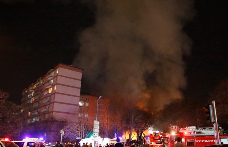 Image: Flames and Smoke at Ankara Turkey Explosion