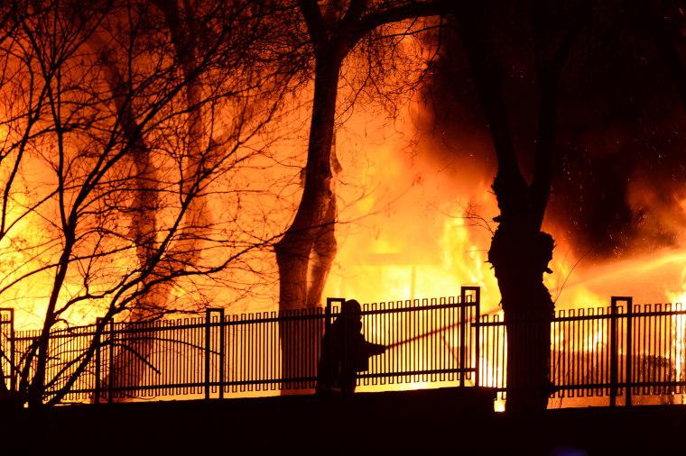 Image: Flames at Ankara Turkey Explosion