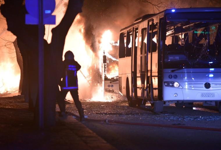 Image: Firefighter attending flames at Ankara Turkey Explosion