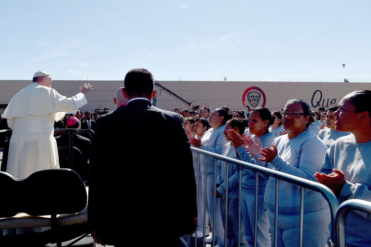 Image: Pope Francis visits the CeReSo n. 3 penitentiary in Ciudad Juarez