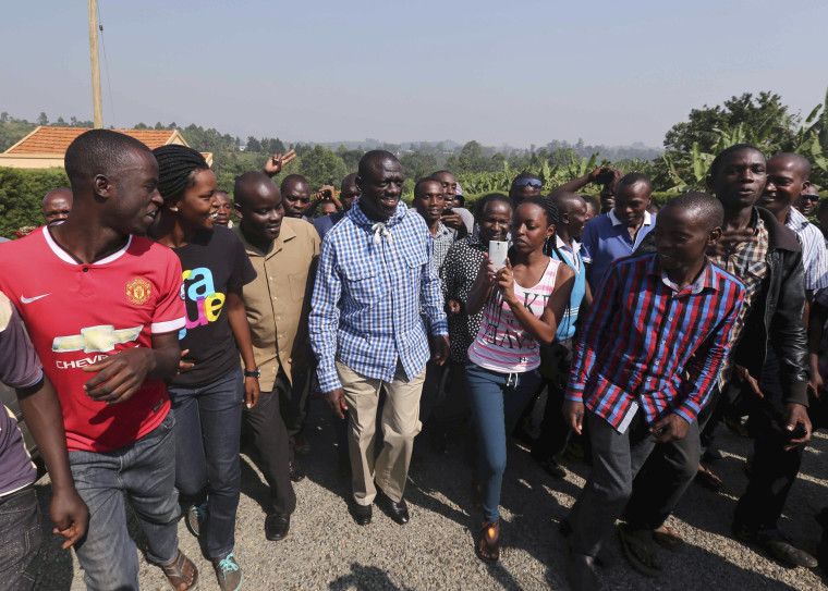 Image: Longtime opposition leader Kizza Besigye leaves after casting his vote in the presidential election at Rwakabengo polling station in Rukungiri a small town west of capital Kampala