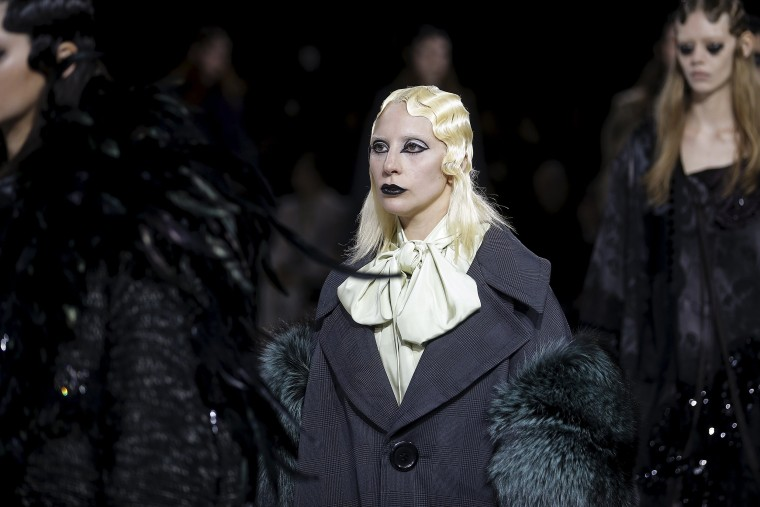 Image: Singer Lady Gaga presents a creation by Marc Jacobs during his Fall/Winter 2016 collection during New York Fashion Week  in the Manhattan borough of New York