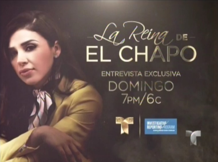 A Telemundo promotional photo for its interview with Emma Coronel Aispuro.