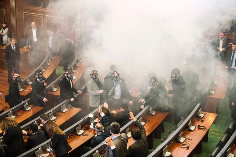 Image: TOPSHOT-KOSOVO-SERBIA-POLITICS-PROTEST