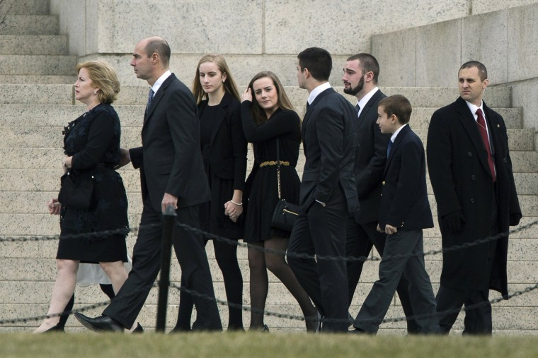 Image: Family members of the late Supreme Court justice Antonin Scalia arrive for his funeral