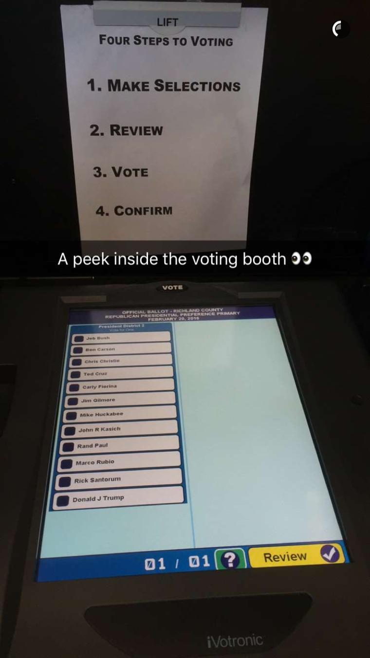 South Carolina voting booth