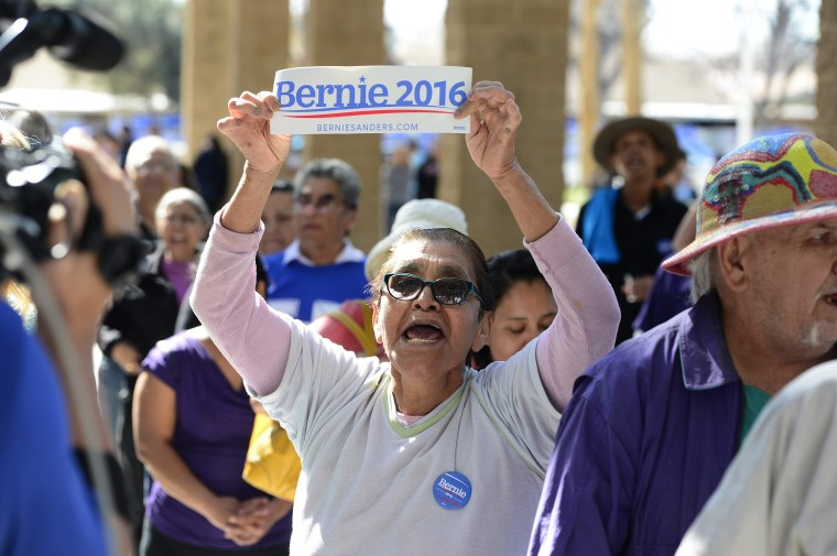 Image: Liliana Aguirre shouts her support for Bernie Sanders