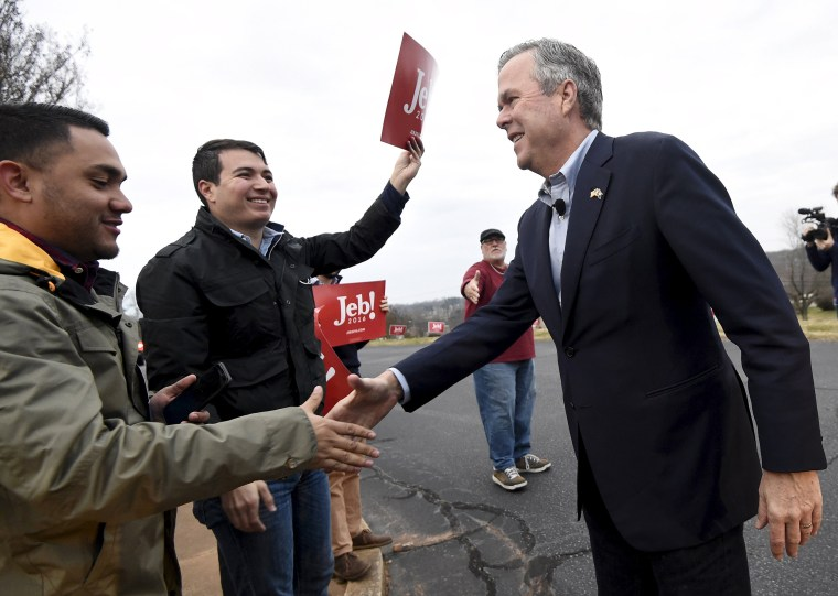 Image: Republican U.S. presidential candidate Jeb Bush speaks to supporters at a polling place in Greenville
