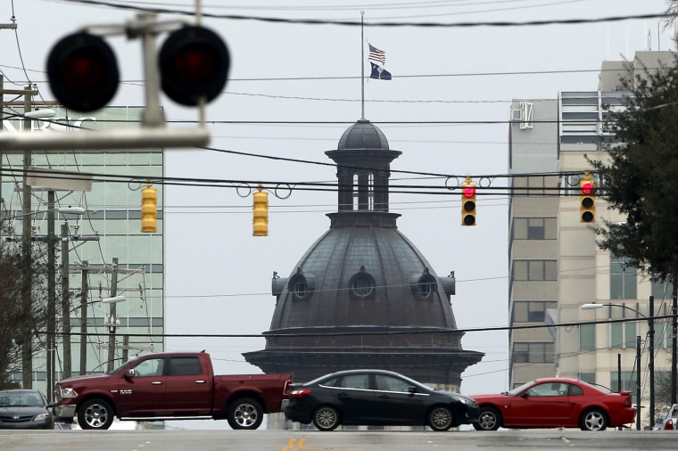 Image: The South Carolina State House dome can be seen in a general view of Main Street in Columbia, South Carolina