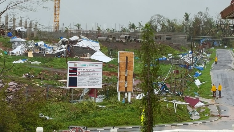 Image: The new hospital in the town of Ba lays ruined after Cyclone Winston swept through Fiji's Viti Levu Island