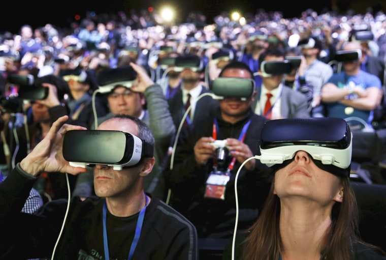Image: People wear Samsung Gear VR devices as they attend the launching ceremony of new Samsung S7 and S7 edge smartphones during the Mobile World Congress in Barcelona