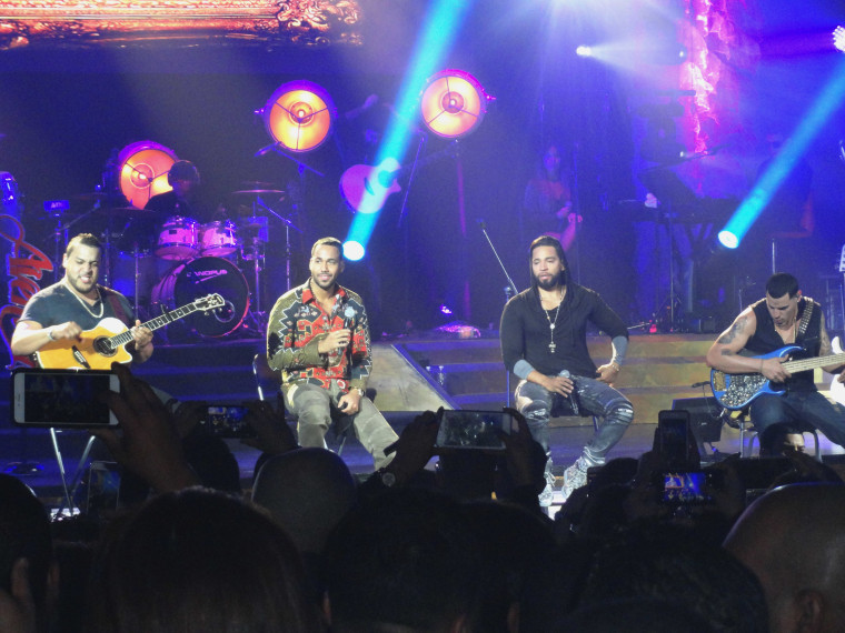 Members of the music group Aventura, (L-R) Lenny Santos, Anthony 'Romeo' Santos, Henry Santos Jeter, and Max Santos.