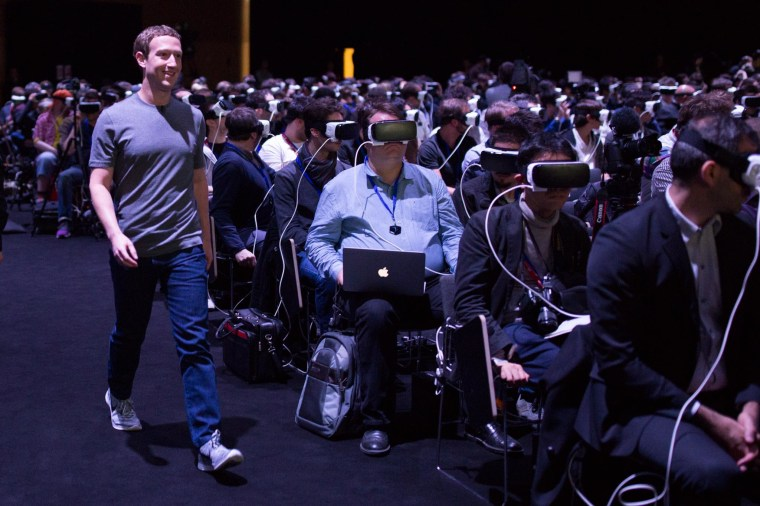 Facebook CEO Mark Zuckerberg is seen here at a Samsung event at the Mobile World Congress in Barcelona, Spain, Feb. 21, 2016.